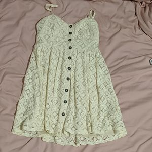 White lace button up dress